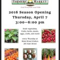 Farmer's Market Opens April 7, 2016!